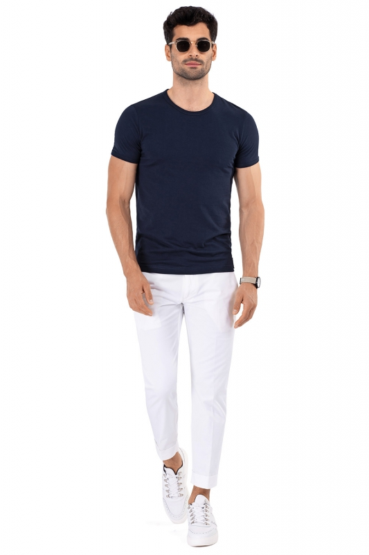 tricou slim bleumarin uni