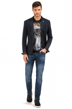 Slim Navy Plain Blazer