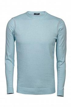 Pulover Slim Bleu Guler Rotund