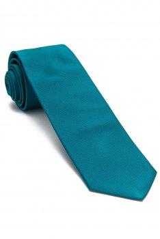 Cravata matase tesuta albastra uni