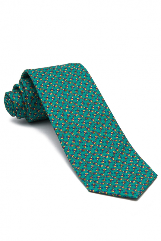 Cravata poliester verde print floral
