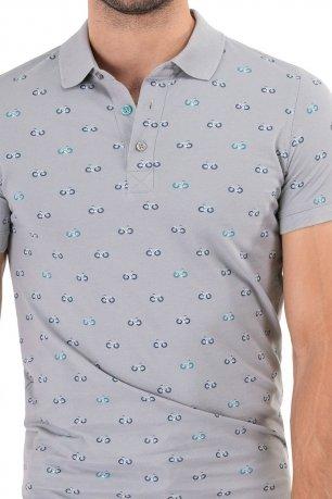 tricou polo gri print geometric