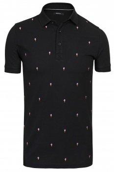 Tricou polo negru print geometric
