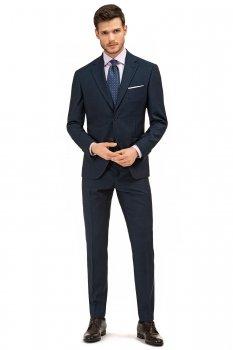 Costum slim conti bleumarin in carouri