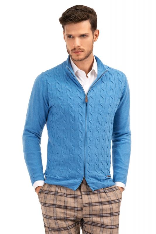 Pulover slim bleu cu fermoar