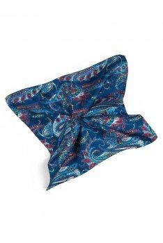 Batista albastra print floral matase tesuta