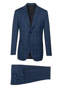 Costum superslim ricco albastru in carouri