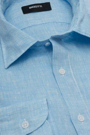 Camasa Slim din in Bleu Uni