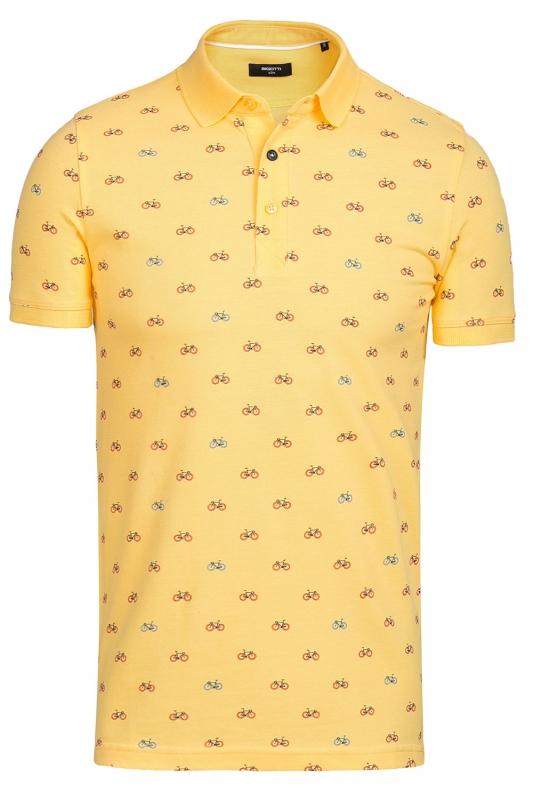 tricou polo galben print geometric