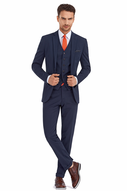 Costum Slim In Trei Piese Bleumarin Uni   Nu Activa 0