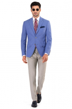 Slim Purple Plain Blazer