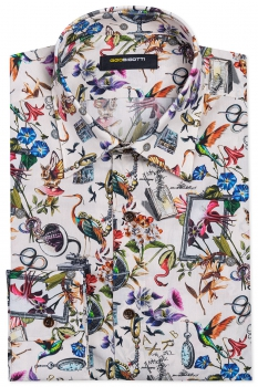 Superslim Beige Floral Shirt