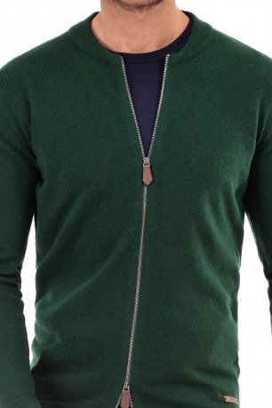 Pulover slim verde cu fermoar