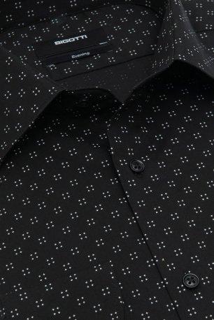 Camasa slim neagra print geometric