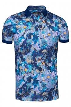Tricou slim Albastru print floral