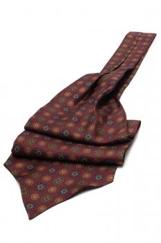 Burgundy Geometric Ascot tie
