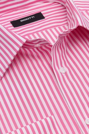 Camasa superslim roz cu dungi