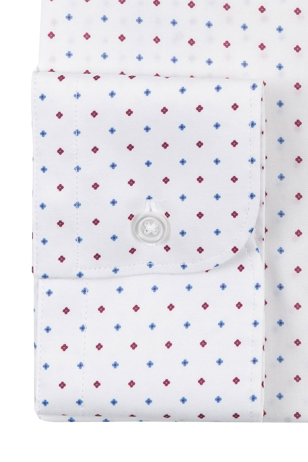 Camasa superslim stretch alba print geometric 2