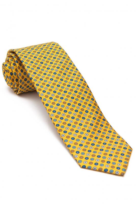 Cravata matase tesuta galbena print floral