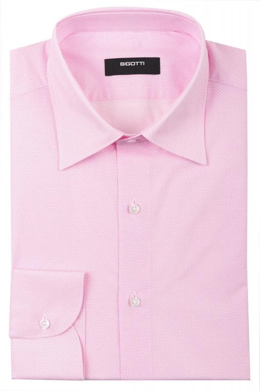 Camasa slim roz print geometric