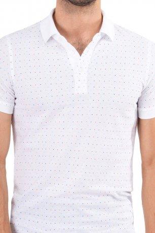 Tricou slim polo alb print geometric
