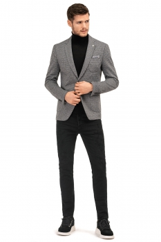 Slim Grey Plain Blazer