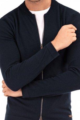 Pulover slim bleumarin cu fermoar