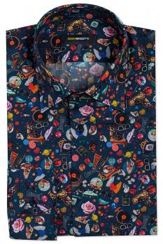 Slim body Navy Floral Shirt