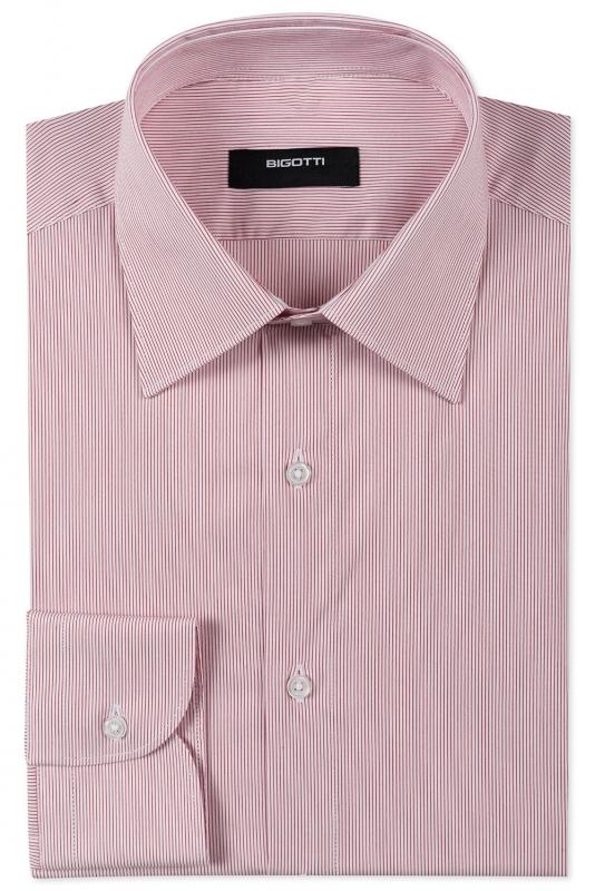 Camasa superslim rosie cu dungi