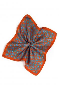 Batista oranj print floral matase tesuta