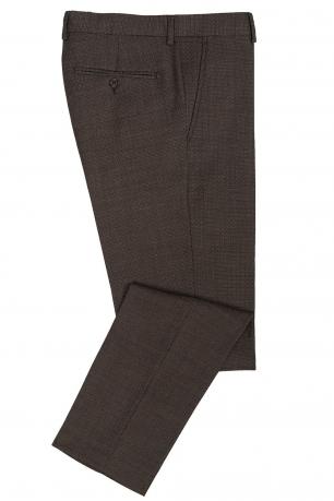 Pantaloni slim conti maro print geometric