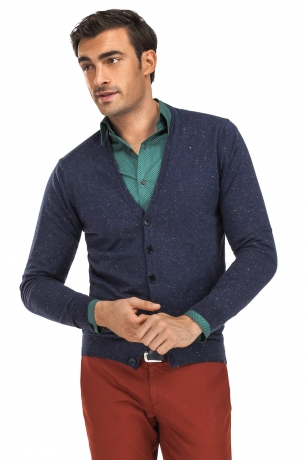 Cardigan slim bleumarin in v