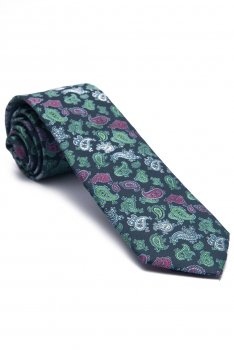 Cravata bleumarin print floral