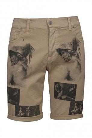 Pantaloni scurti bej print geometric