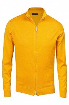 pulover regular galben cu fermoar