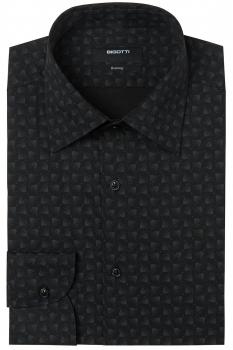 Superslim Black Print Shirt