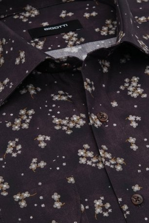 Camasa superslim mov print floral