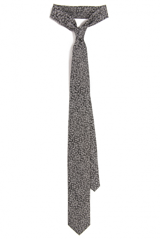 cravata poliester neagra print floral
