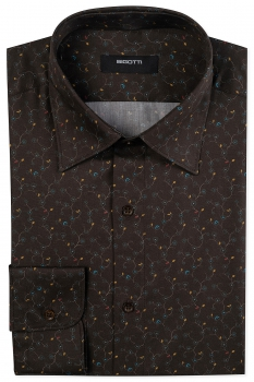 Shaped Brown Floral Shirt