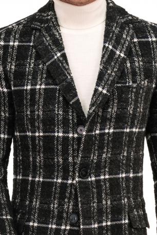 Palton negru in carouri