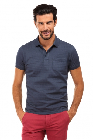 Tricou polo slim antracit print geometric