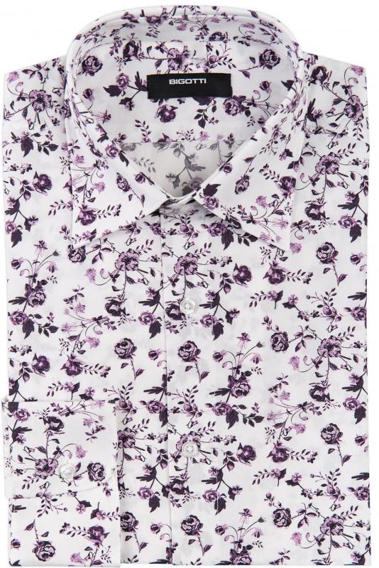 Camasa superslim alba print floral