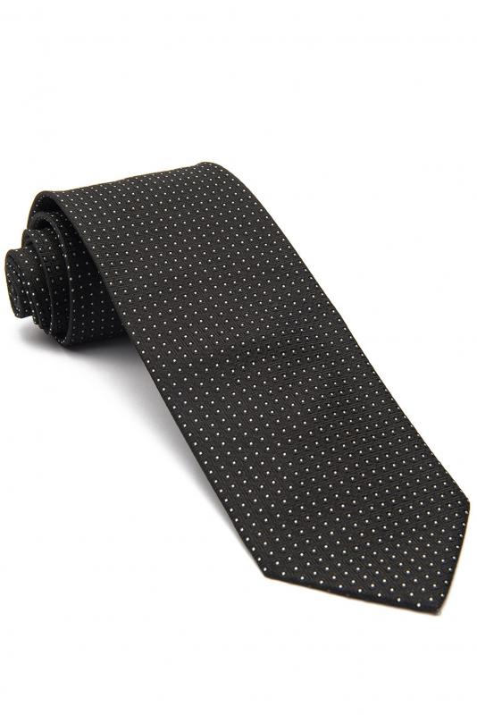 Cravata matase tesuta neagra print geometric