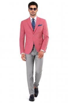 Slim Pink Plain Blazer