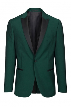 Slim Green Plain Blazer