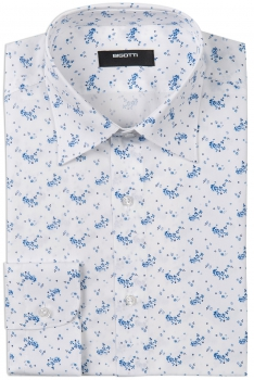 Superslim White Floral Shirt