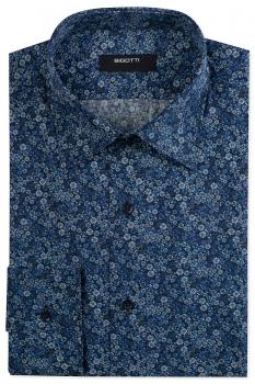 Shaped Navy Floral Shirt