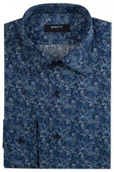 Camasa Shaped Bleumarin print Floral