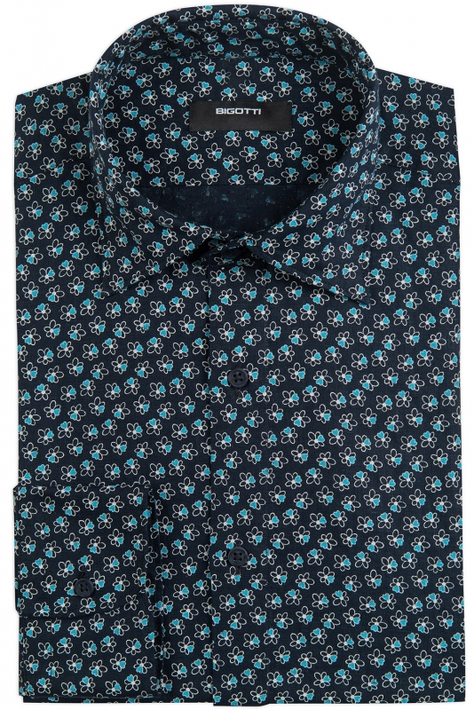 Camasa shaped din in bleumarin print floral
